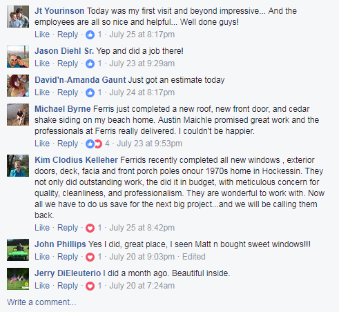 Home Improvement Company Delaware happy customers comments
