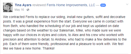 customer testimonial Ferris Home Improvements Delaware