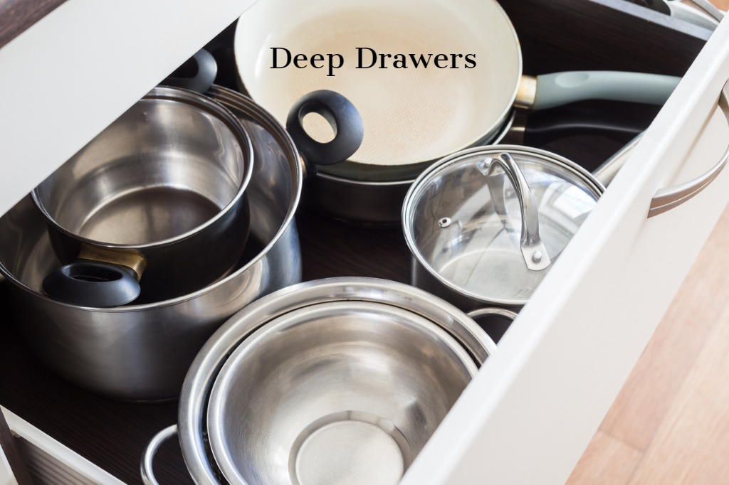 Deep drawers for large items such as pots and pans